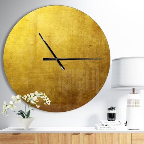 Designart 'Gold Texture' Oversized Modern Wall CLock