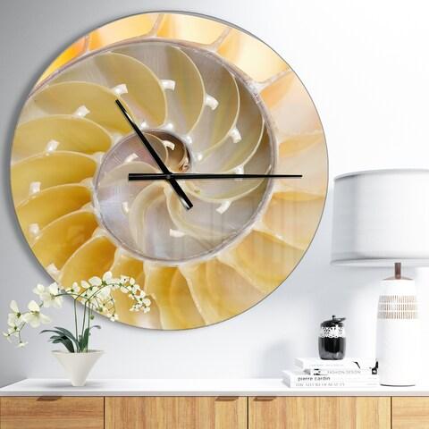 Designart 'Isolated Nautilus Shell' Oversized Coastal Wall CLock