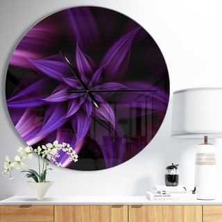 Designart 'Fractal Flower Purple' Oversized Modern Wall CLock