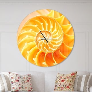 Designart 'Yellow Nautilus Shell' Oversized Coastal Wall CLock