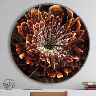 Designart 'Brown Fractal Flower' Oversized Modern Wall CLock