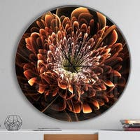 Designart 'Brown Fractal Flower' Oversized Modern Wall CLock