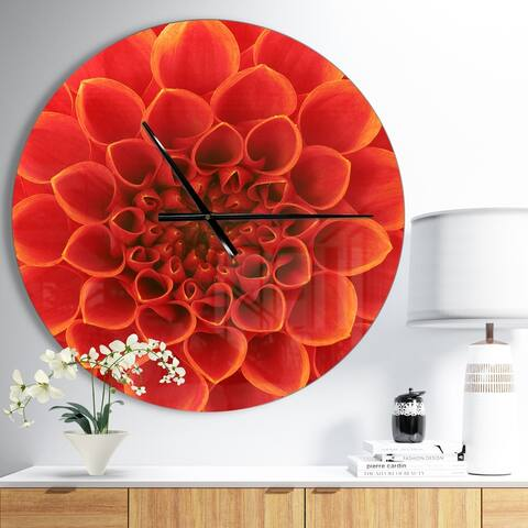 Designart 'Orange Abstract Flower Petals' Oversized Floral Wall CLock