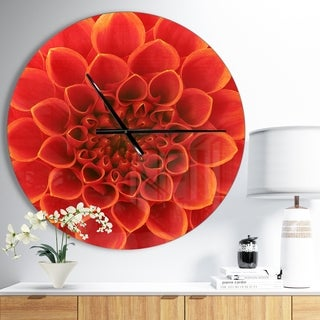 Designart 'Orange Abstract Flower Petals' Oversized Floral Wall CLock
