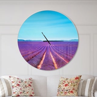 Designart 'Lavender Flowers and Clear Sky' Oversized Traditional Wall CLock