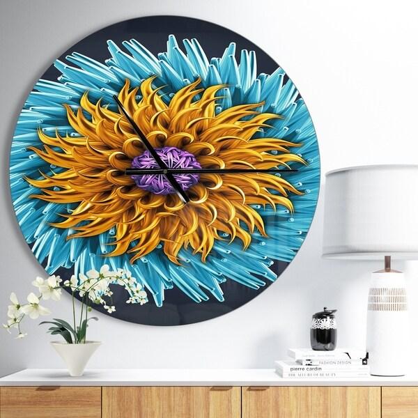 Designart 'Yellow Blue Abstract 3D Flower' Oversized Floral Wall CLock