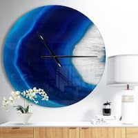 Designart 'Blue Agate Crystal' Oversized Modern Wall CLock