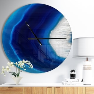 Designart 'Blue Agate Crystal' Oversized Modern Wall CLock