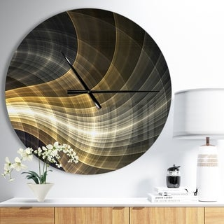 Designart 'Yellow Fractal Light Art' Oversized Modern Wall CLock