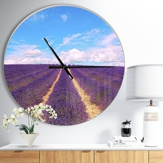 Designart 'Blooming Lavender Flower Field' Oversized Traditional Wall CLock