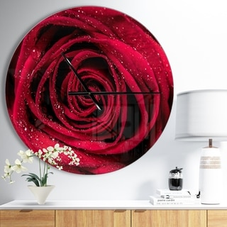 Designart 'Red Rose Petals with Rain Droplets' Oversized Floral Wall CLock