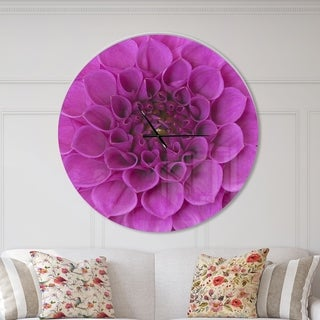 Designart 'Large Purple Flower and Petals' Oversized Floral Wall CLock