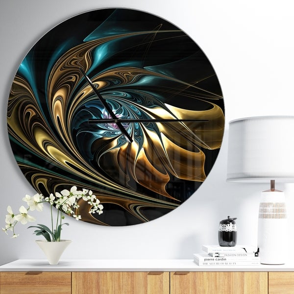 Designart 'Brown Blue Fractal Flower in Black' Oversized Modern Wall CLock