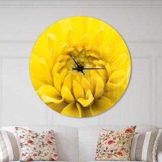 Designart 'Yellow Chrysanthemum Gold Flower' Oversized Traditional Wall CLock