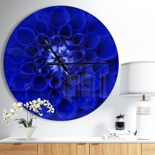 Designart 'Abstract Blue Flower Design' Oversized Floral Wall CLock