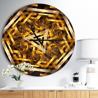 Designart 'Fractal 3D Yellowish Hexagon' Oversized Modern Wall CLock