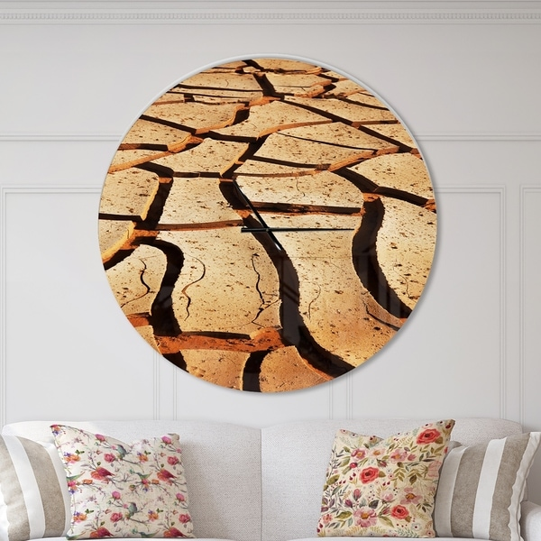 Designart 'Cracked Brown Drought Land' Oversized Landscapes Wall CLock