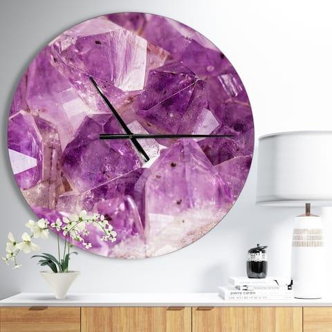 Designart 'Purple Amethyst Macro' Oversized Modern Wall CLock