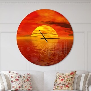 Designart 'Sun Falling to Yellow Ocean' Oversized Coastal Wall CLock