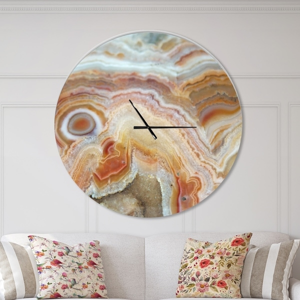 Designart 'Strips and Ovals on Agate' Oversized Modern Wall CLock
