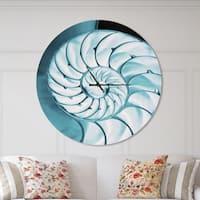 Designart 'Chambered Nautilus Shell' Oversized Coastal Metal Clock