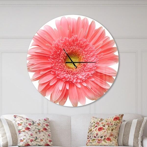 Designart 'Single Daisy on White Background' Oversized Floral Wall CLock
