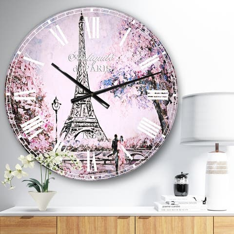 Designart 'Eiffel with Pink Flowers' Oversized French Country Wall CLock