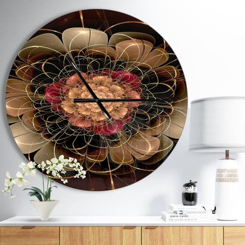 Designart 'Dark Gold Red Fractal Flower Pattern' Oversized Floral Wall CLock
