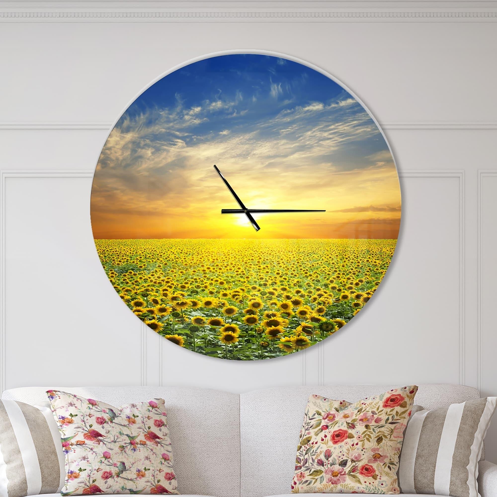 Designart Beauty Sunset Over Sunflowers Field Oversized Floral Wall Clock On Sale Overstock 23534862