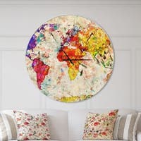 Designart 'Vintage World Map Watercolor' Oversized Global Wall CLock