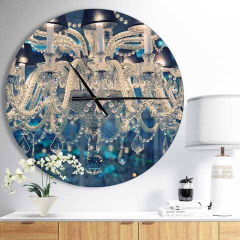 Designart 'Blue Vintage Crystal Chandelier' Oversized Shabby Chic Wall CLock