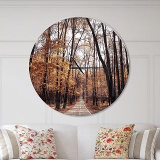 Designart 'Road in Autumn Golden Forest' Oversized Traditional Wall CLock