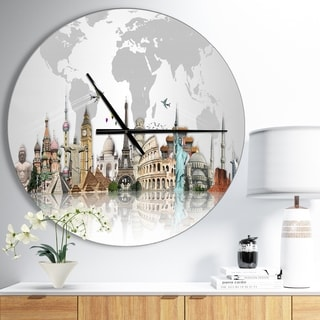 Designart 'Famous Monuments Across World' Oversized Industrial Wall CLock