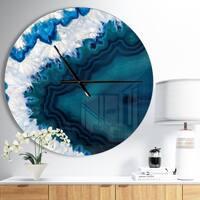 Designart 'Blue Brazilian Geode' Oversized Modern Wall CLock