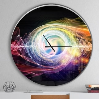 Designart 'Bright Wave Particle in Air on Black' Oversized Modern Wall CLock