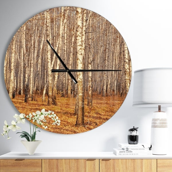 Designart 'Dense Birch Forest in the Fall' Oversized Traditional Wall CLock