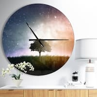 Designart 'Single Tree Space Background' Oversized Traditional Wall CLock