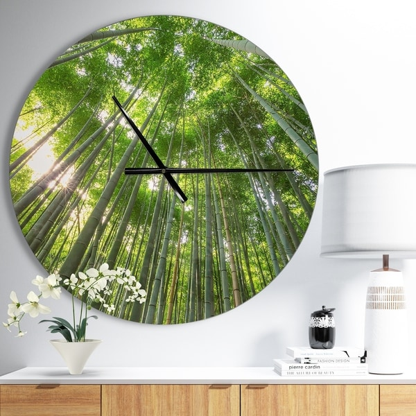 Designart 'Peaks of Bamboo in Kyoto Forest' Oversized Forest Wall CLock