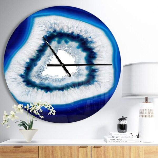Designart 'Slice of blue agate crystal' Oversized Modern Wall CLock