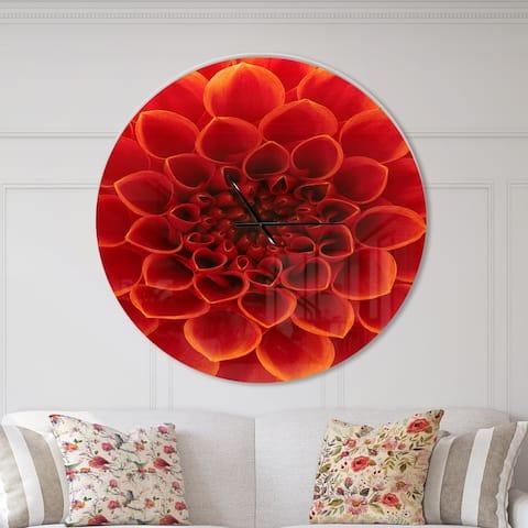 Designart 'Close Up Orange Flower Petals' Oversized Floral Wall CLock