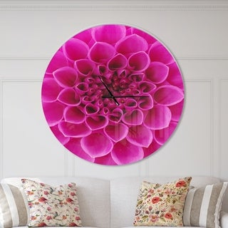 Designart 'Large Pink Flower and Petals' Oversized Floral Wall CLock