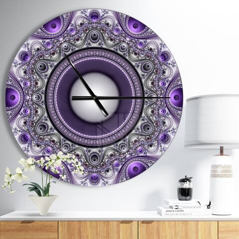 Designart 'Purple Fractal Pattern with Circles' Oversized Modern Wall CLock