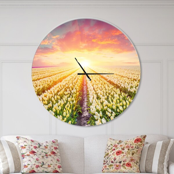 Designart 'Blooming White Tulips' Oversized Traditional Wall CLock