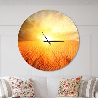 Designart 'Sand Landscape with Sun' Oversized Traditional Wall CLock
