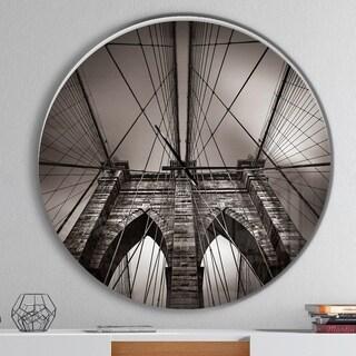 Designart 'Brooklyn Bridge in NYC USA' Oversized Industrial Wall CLock