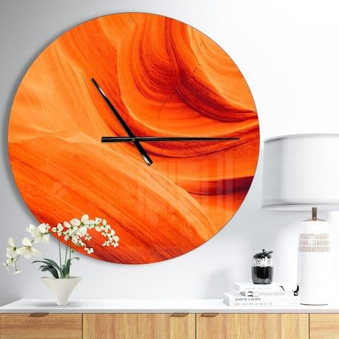 Designart 'Orange Upper Antelope Canyon' Oversized Modern Wall CLock