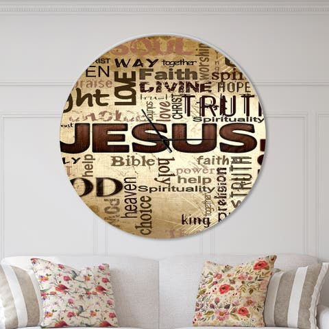 Designart 'Jesus' word cloud in grunge background' Oversized Religious Wall CLock