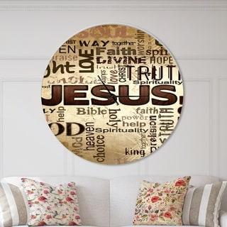 Designart 'Jesus' word cloud in grunge background' Oversized Religious Wall CLock