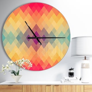 Designart 'Colorful Geometric Pattern' Oversized Contemporary Wall CLock