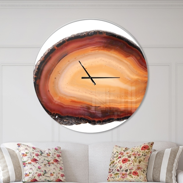 Designart 'Brown agate isolated' Oversized Modern Wall CLock